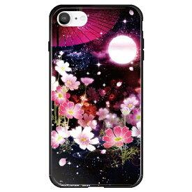 藤家 Fujiya iPhone SE(第2世代)/8/7 幻想デザイン ガラスハイブリッド L. 月夜の秋桜 ghp7053-bk-l-ipse2
