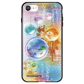 藤家 Fujiya iPhone SE(第2世代)/8/7 幻想デザイン ガラスハイブリッド M. 硝子玉 ghp7053-bk-m-ipse2