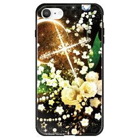 藤家 Fujiya iPhone SE(第2世代)/8/7 幻想デザイン ガラスハイブリッド O. 白薔薇クロス ghp7053-bk-o-ipse2
