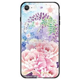 藤家 Fujiya iPhone SE(第2世代)/8/7 幻想デザイン ガラスハイブリッド Q. 明彩花吹雪 ghp7053-bk-q-ipse2