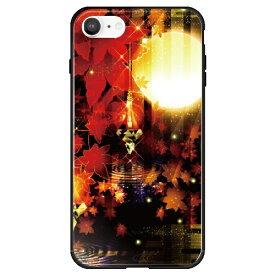 藤家 Fujiya iPhone SE(第2世代)/8/7 幻想デザイン ガラスハイブリッド R. 満月と紅葉 ghp7053-bk-r-ipse2
