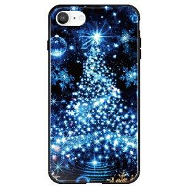 藤家 Fujiya iPhone SE(第2世代)/8/7 幻想デザイン ガラスハイブリッド S. ブルーツリー ghp7053-bk-s-ipse2