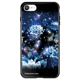藤家 Fujiya iPhone SE(第2世代)/8/7 幻想デザイン ガラスハイブリッド V .クリスタルロータスと蝶( ghp7053-bk-v-ipse2