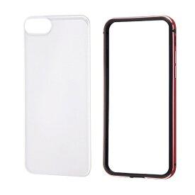 レイアウト rayout iPhone SE(第2世代)4.7インチ/8/7 アルミバンパー+背面パネル(クリア) RT-P24AB/RM レッド