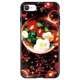 藤家 Fujiya iPhone SE(第2世代)/8/7 幻想デザイン ガラスハイブリッド Y .泡沫幻想_椿 ghp7053-bk-y-ipse2