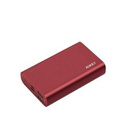 AUKEY オーキー モバイルバッテリー Sprint Go10 18W PD対応出力入力 レッド PB-XD12-RD [10000mAh /USB Power Delivery・Quick Charge対応 /3ポート /充電タイプ]