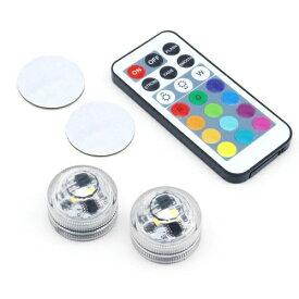 タイムリー TIMELY 小型ボタン型ライト2個+リモコンセット TM-LEDBASEMM-2P