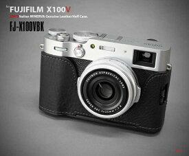 リムズ LIM'S 富士フイルム X100V用本革カメラハーフケース ブラック FJ-X100VBK