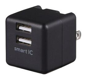 グリーンハウス GREEN HOUSE AC-USB アダプタ 2.4Ah ブラック GH-ACU2F-BK [2ポート /Smart IC対応]