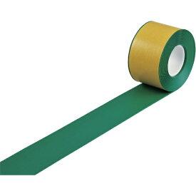 日本緑十字 JAPAN GREEN CROSS 緑十字 高耐久ラインテープ 緑 100mm幅×10m 両端テーパー構造 屋内用 403082