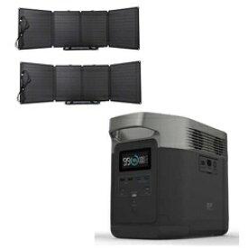 ビックカメラ限定セット ポータブル電源 EFDELTA1300-JP+110Wソーラーチャージャー2台セット[ポータブル電源 大容量 ソーラーパネル エコフロー]