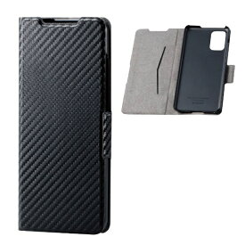 エレコム ELECOM Galaxy S20+ 5G ソフトレザーケース 薄型 磁石付 カーボン調 ブラック PM-G203PLFUCB