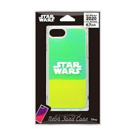 PGA iPhone SE(第2世代)/8/7/6s/6用 ネオンサンドケース ロゴ/グリーン&イエロー PG-DLQ20M15SW