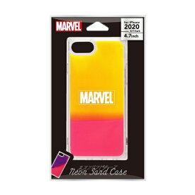 PGA iPhone SE(第2世代)/8/7/6s/6用 ネオンサンドケース ロゴ/イエロー&ピンク PG-DLQ20M17MVL