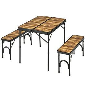 BUNDOK バンドック テーブル&ベンチセット(約940×375×112mm/木目) BD-230WB