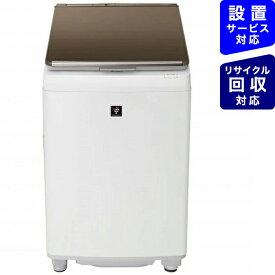 シャープ SHARP ES-PW10E-T 縦型洗濯乾燥機 ブラウン系 [洗濯10.0kg /乾燥5.0kg /ヒーター乾燥(排気タイプ) /上開き][洗濯機 10kg]