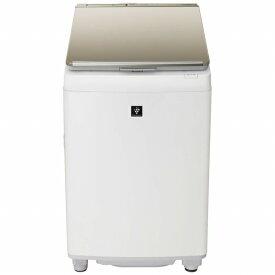 シャープ SHARP ES-PW8E-N 縦型洗濯乾燥機 ゴールド系 [洗濯8.0kg /乾燥4.5kg /ヒーター乾燥(排気タイプ) /上開き][洗濯機 8kg]