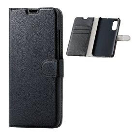 エレコム ELECOM Galaxy A41 ソフトレザーケース 薄型 磁石付 ステッチ ブラック PM-G202PLFU2BK