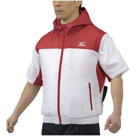 ミズノ mizuno メンズ エアリージャケット半袖(Lサイズ/レッド) C2JE0101【ファン・バッテリー別売り】
