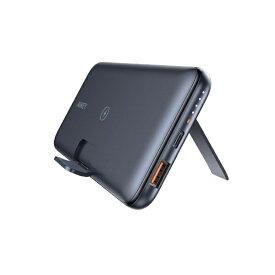 AUKEY オーキー モバイルバッテリー 10Wワイヤレス機能付き 折りたたみスタンド ブラック PB-WL02-BK [10000mAh /USB Power Delivery・Quick Charge対応 /2ポート /充電タイプ]