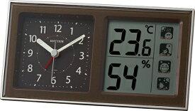 リズム時計 RHYTHM 温湿度計付目覚まし時計 「ルームナビR678」 8RE678SR06 【ルームナビR678】 茶メタリック色 8RE678SR06