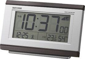 リズム時計 RHYTHM デジタル電波目覚まし時計 「フィットウェーブD161」 8RZ161SR06 【フィットウェーブD161】 茶色木目仕上 8RZ161SR06