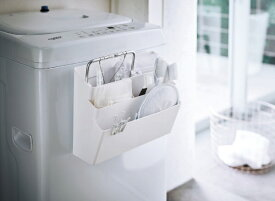 山崎実業 Yamazaki 洗濯機横マグネット収納ポケット3段 プレート ホワイト(Magnet Laundry Storage Pockets Tower) ホワイト 4443