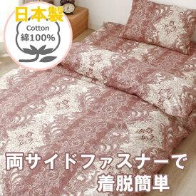小栗 日本製 掛ふとんカバー シングルロングサイズ グラート 両サイドファスナー ピンク 223578-16