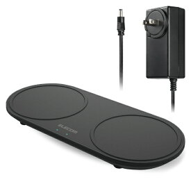 エレコム ELECOM Qi規格対応ワイヤレス充電器 5W 10W 2台同時充電 卓上 ブラック W-QA13BK