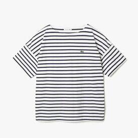 ラコステ LACOSTE レディース ウエア Tシャツ リラックスフィット ストライプデザインボートネックTシャツ(38(Lサイズ)/ホワイト×ネイビー)TF102EL