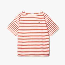 ラコステ LACOSTE レディース ウエア Tシャツ リラックスフィット ストライプデザインボートネックTシャツ(36(Mサイズ)/ホワイト×レッド)TF102EL