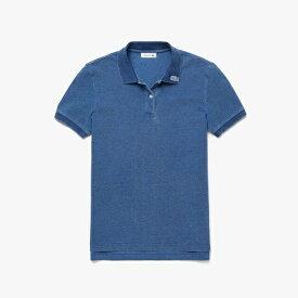 ラコステ LACOSTE レディース ポロシャツ レギュラーフィットインディゴピケポロシャツ (半袖)(36(Mサイズ)/インディゴブルー)PF126EL