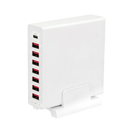 OWLTECH オウルテック PD対応 ACアダプター 8台同時充電 超速充電 Cポートx1 Aポートx7 Power Delivery-PPS 30W出力 合計最大72W ケーブル・スタンド付属 2年保証 ホワイト OWL-APD72C1A7-WH