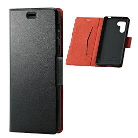 エレコム ELECOM シンプルスマホ5 ソフトレザーケース 薄型 磁石付 ブラック PM-S204PLFUBK