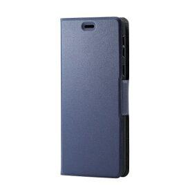 エレコム シンプルスマホ5 ソフトレザーケース 薄型 磁石付 ネイビー PM-S204PLFUNV