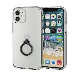 エレコム ELECOM iPhone 12 mini 5.4インチ対応 ハイブリッドケース リング付き ブラック