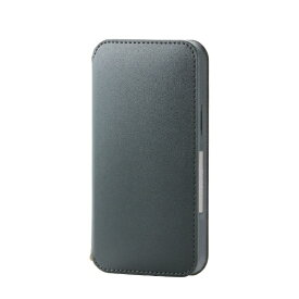 エレコム ELECOM iPhone 12 mini 5.4インチ対応 レザーケース 手帳型 NEUTZ 磁石付き グリーン