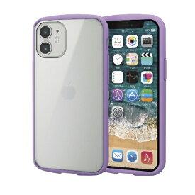 エレコム iPhone 12 mini 5.4インチ対応 ハイブリッドケース TOUGH SLIM LITE フレームカラー パープル