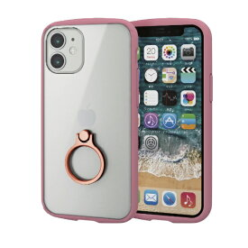 エレコム ELECOM iPhone 12 mini 5.4インチ対応 ハイブリッドケース TOUGH SLIM LITE フレームカラー リング付き ピンク