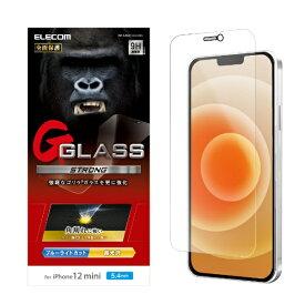 エレコム iPhone 12 mini 5.4インチ対応 ガラスフィルム ゴリラ エッジ強化 0.21mm 防塵プレート ブルーライトカット