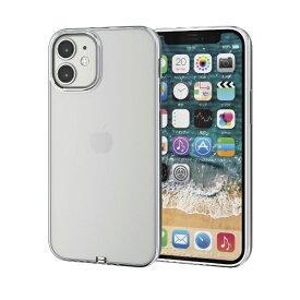 エレコム iPhone 12 mini 5.4インチ対応 ソフトケース サイドメッキ 極み シルバー