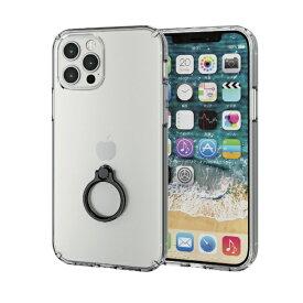 エレコム ELECOM iPhone 12/12 Pro 6.1インチ対応 ハイブリッドケース リング付き ブラック