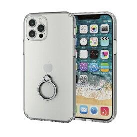 エレコム ELECOM iPhone 12/12 Pro 6.1インチ対応 ハイブリッドケース リング付き シルバー