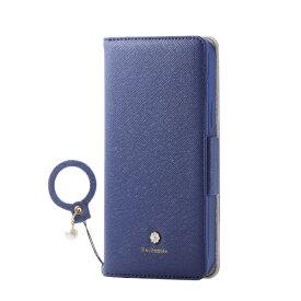 エレコム ELECOM iPhone 12/12 Pro 6.1インチ対応 レザーケース 手帳型 Enchante 磁石付き リング付き ネイビー
