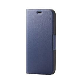 エレコム ELECOM iPhone 12/12 Pro 6.1インチ対応 レザーケース 手帳型 UltraSlim 薄型 磁石付き ネイビー
