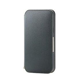 エレコム ELECOM iPhone 12/12 Pro 6.1インチ対応 レザーケース 手帳型 NEUTZ 磁石付き グリーン