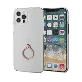 エレコム ELECOM iPhone 12/12 Pro 6.1インチ対応 ハードケース リング付き ピンク