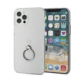 エレコム ELECOM iPhone 12/12 Pro 6.1インチ対応 ハードケース リング付き シルバー