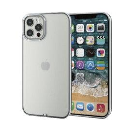 エレコム iPhone 12/12 Pro 6.1インチ対応 ソフトケース サイドメッキ 極み シルバー