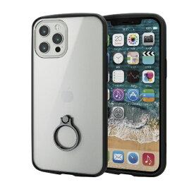 エレコム ELECOM iPhone 12 Pro Max 6.7インチ対応ハイブリッドケース TOUGH SLIM LITE フレームカラー リング付き ブラック